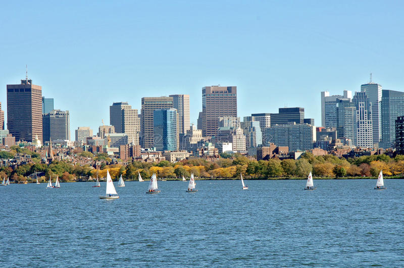 Charles River Boston. A view of Boston and the Charles river full of sailboats on a fall day royalty free stock photography