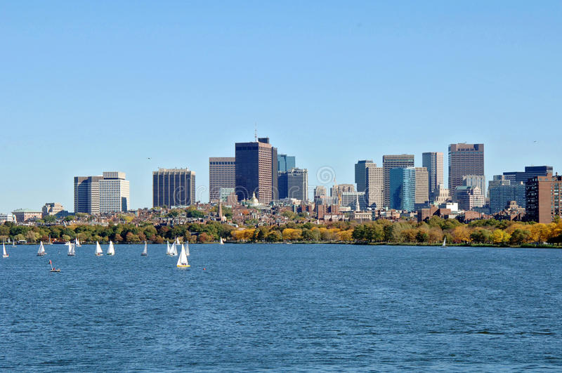 Charles River Boston. A view of Boston and the Charles river full of sailboats on a fall day royalty free stock photos