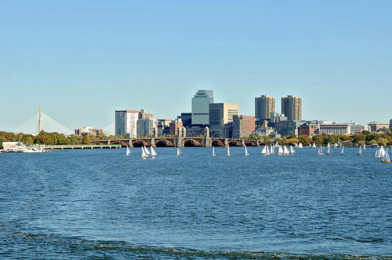 Charles River Boston. A view of Boston and the Charles river full of sailboats on a fall day stock photos