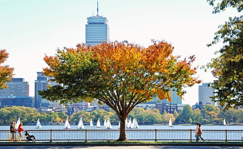 Boston. A view of people walking in park in Boston and the Charles river full of sailboats on a fall day royalty free stock images