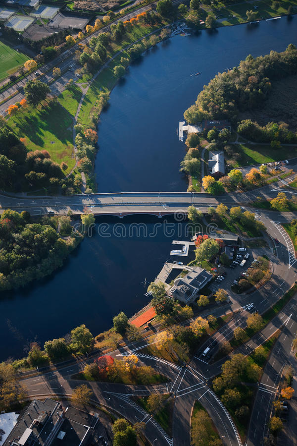 Charles River and Cambridge. Aerial view of Charles River through Cambridge, MA, USA stock image