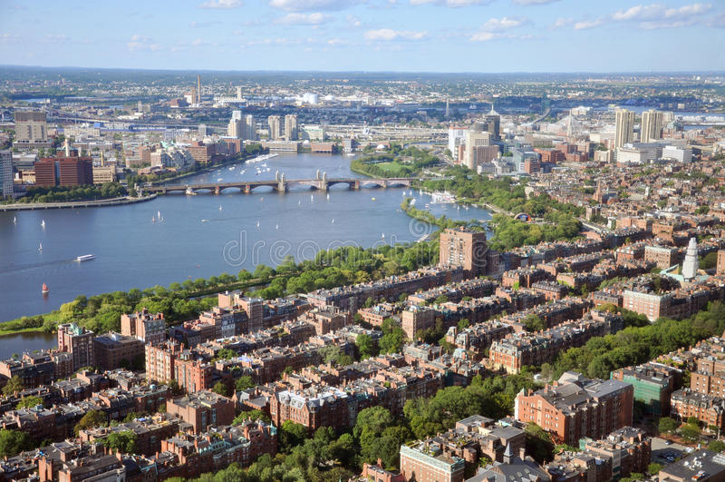 Charles River en AchterBaai, Boston stock fotografie