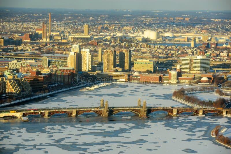 Charles River en Longfellow Brug, Boston royalty-vrije stock fotografie