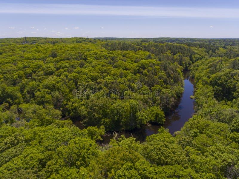 Charles River, Medway, Massachusetts, de V.S. royalty-vrije stock afbeelding