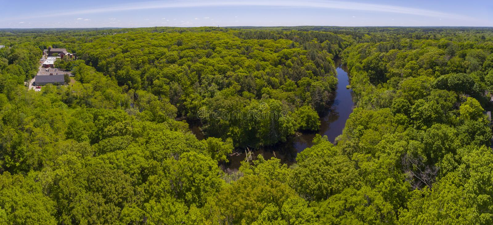 Charles River, Medway, Massachusetts, USA. Bend of Charles River in Medway historic town center in summer, Medway, Boston Metro West area, Massachusetts, USA royalty free stock photos