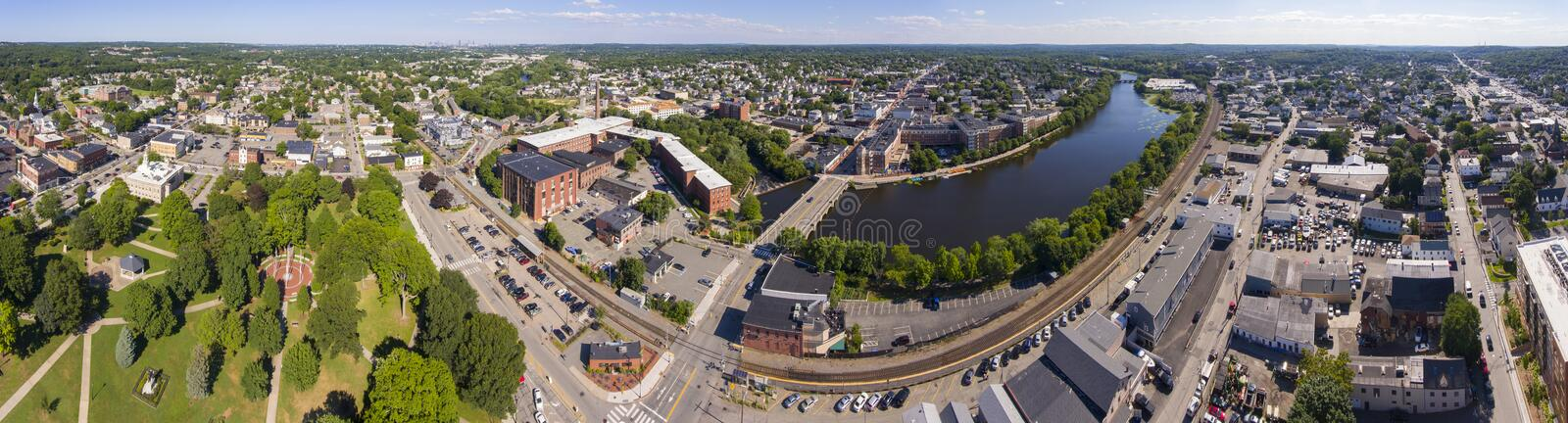 Charles River aerial view, Waltham, Massachusetts, USA. Charles River panorama aerial view in downtown Waltham, Massachusetts, MA, USA royalty free stock photography