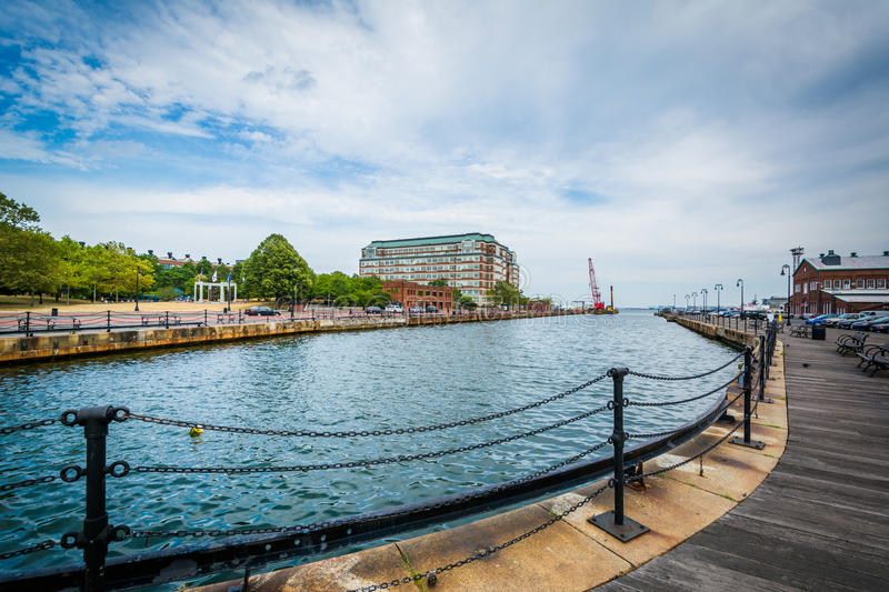The Charles River waterfront in Charlestown, Boston, Massachusetts. royalty free stock image