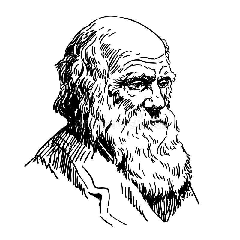 Charles Robert Darwin vector illustration