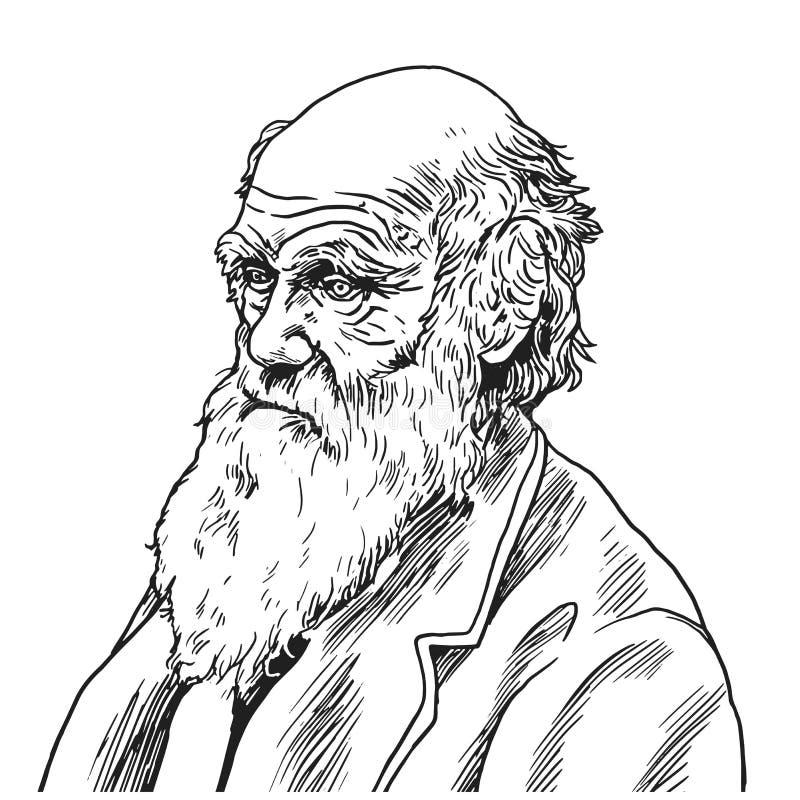 Charles Robert Darwin kreskówki karykatury Wektorowa ilustracja Wrzesień 9, 2018 ilustracji