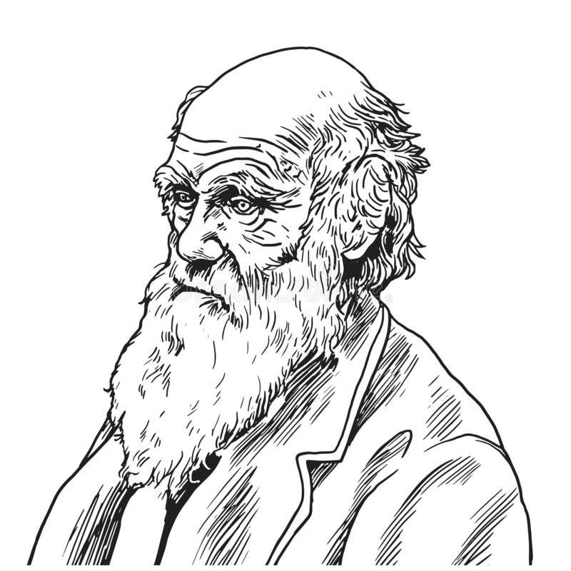 Charles Robert Darwin Vector Cartoon Caricature Illustration 9 settembre 2018 illustrazione di stock