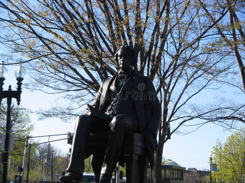 Charles Sumner statua, Harvard kwadrat, Cambridge, Massachusetts, usa zdjęcia royalty free