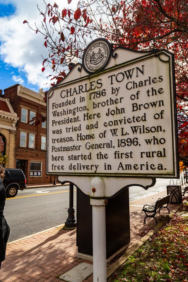 Charles Town Historic Marker Sign royalty-vrije stock afbeelding