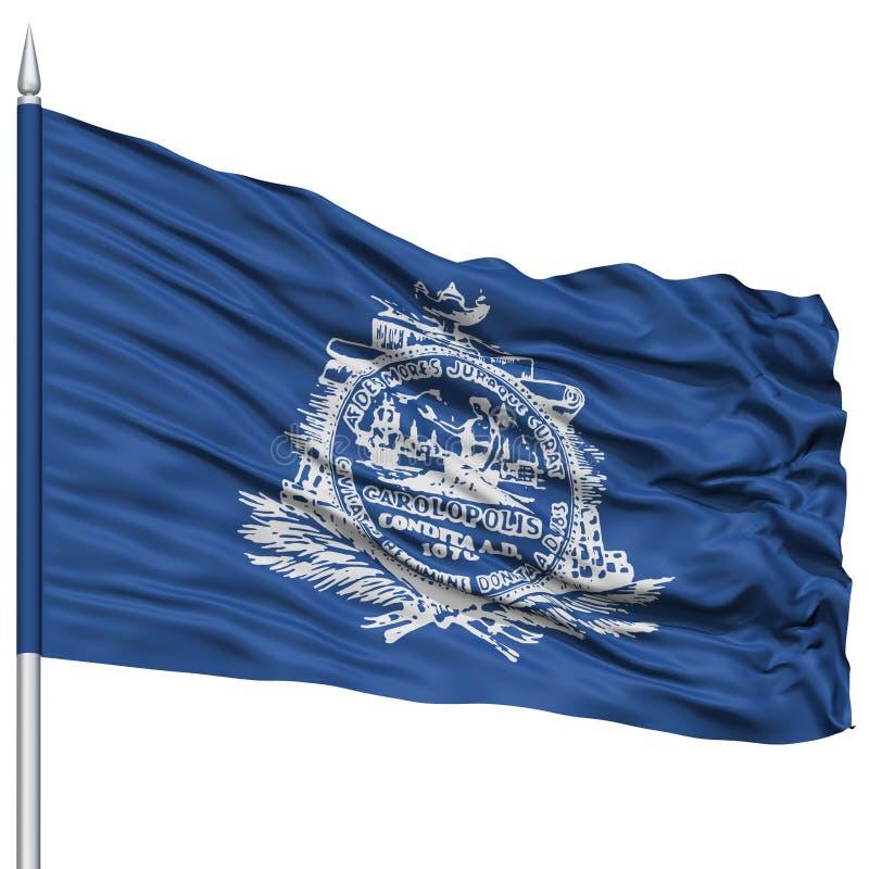 Charleston City Flag no mastro de bandeira, EUA ilustração royalty free