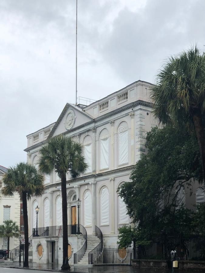 Charleston City Hall Secured for Hurricane Dorian.  stock photography