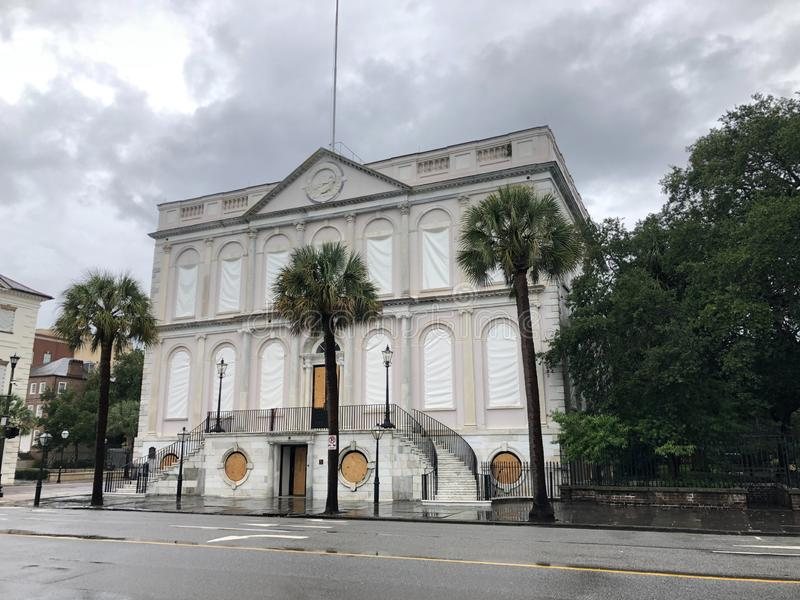 Charleston City Hall Secured for Hurricane Dorian.  royalty free stock photos
