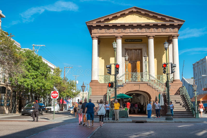 Charleston City Market es Charleston, SC imagenes de archivo