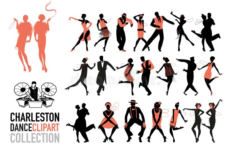 Charleston dance clipart collection. Set of jazz dancers isolated on white background royalty free illustration