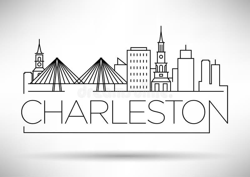 Charleston Linear City Skyline minimal avec la conception typographique illustration stock