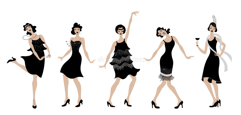 Charleston Party.black dress dancing girls silhouette .Gatsby style set. Group of retro woman dancing charleston.Vintage style. r. Charleston Party. Gatsby style royalty free illustration