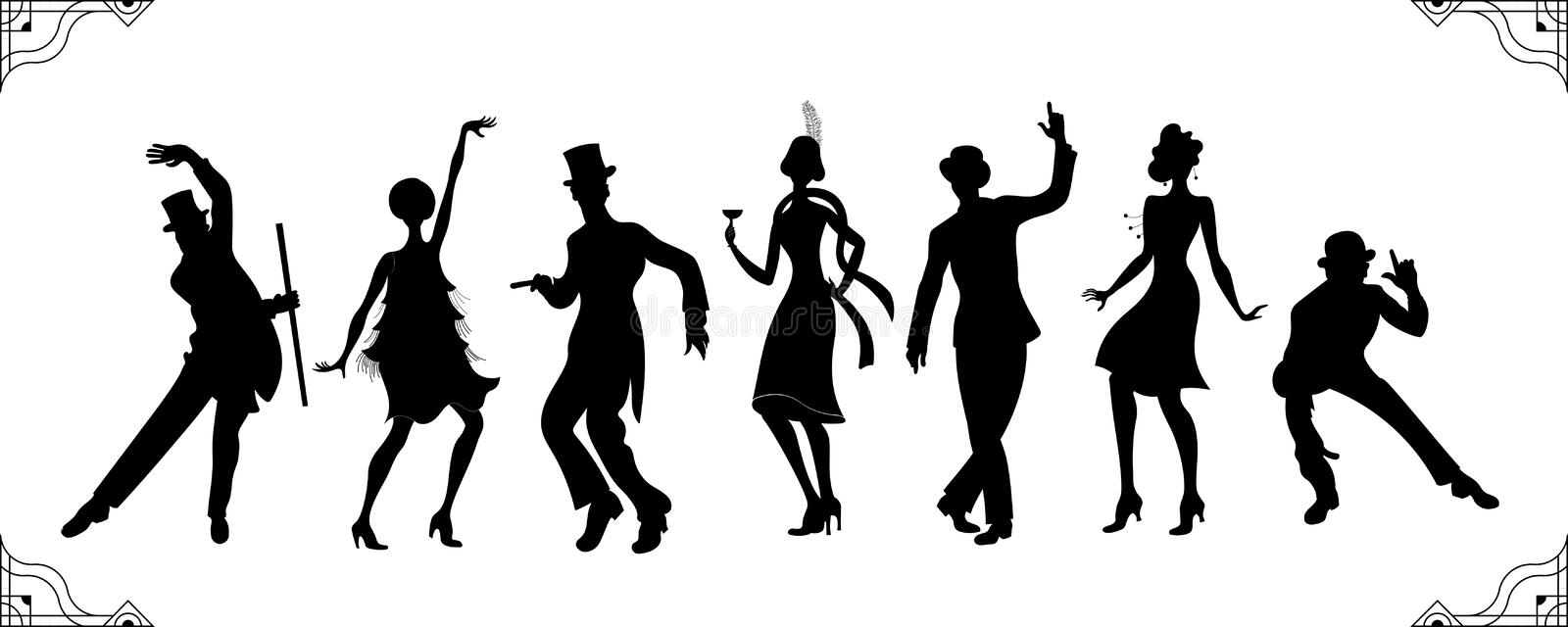 Charleston Party.black silhouette man and woman gold silhouette .Gatsby style set. Group of retro man dancing charleston.Vintage royalty free illustration