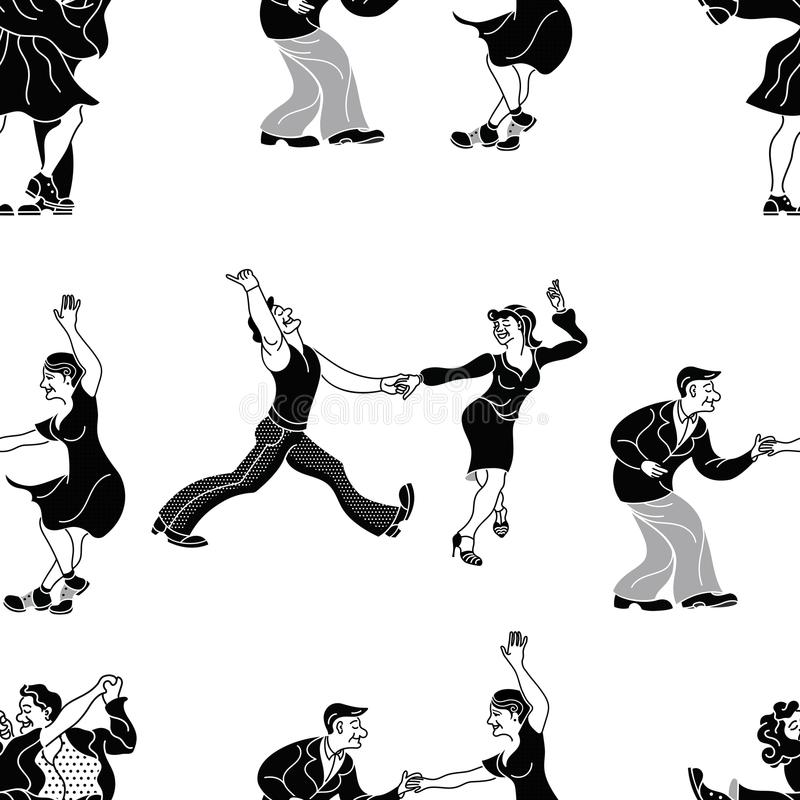 Pattern retro dance.Dance couple silhouette. Seamless retro silhouette.Charleston party dance vintage people on w royalty free illustration