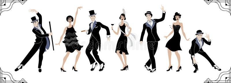Charleston Party Gatsby-Artsatz Gruppe der Retro- Frau und des Mannes, die Charleston tanzt Abbildung der roten Lilie Retro- Scha vektor abbildung