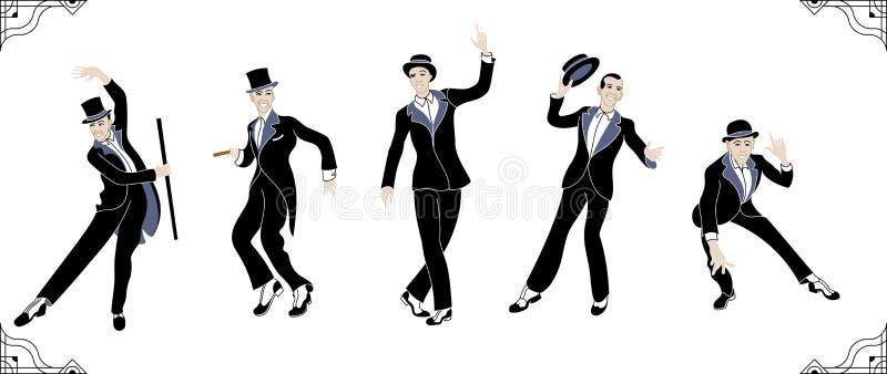 Charleston Party Gatsby stilfolk Grupp av den retro mannen som dansar charleston tappning för stil för illustrationlilja röd retr royaltyfri illustrationer