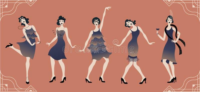 Charleston Party Gatsby stiluppsättning Grupp av den retro kvinnan som dansar charleston tappning för stil för illustrationlilja  stock illustrationer