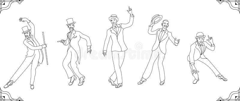 Charleston Party Gatsby stiluppsättning Gruppen av den retro mannen fodrar vrctor som dansar charleston tappning för stil för ill vektor illustrationer