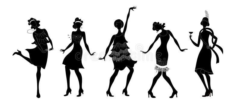Charleston Party Gatsby stiluppsättning Gruppen av retro kvinnadanssvart isolerade konturn charleston tappning för stil för illus vektor illustrationer