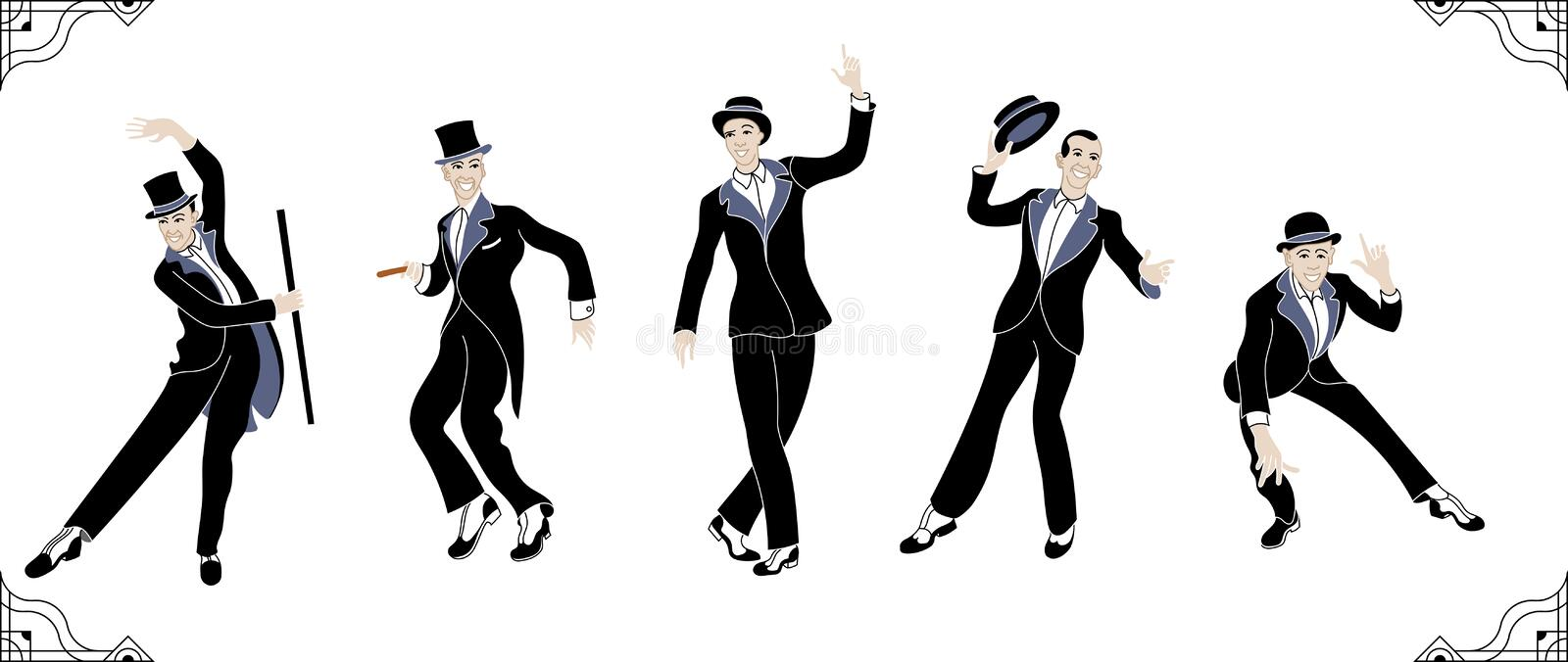 Charleston Party. Gatsby style people .Group of retro man dancing charleston. Vintage style. retro silhouette dancer.1920 royalty free illustration