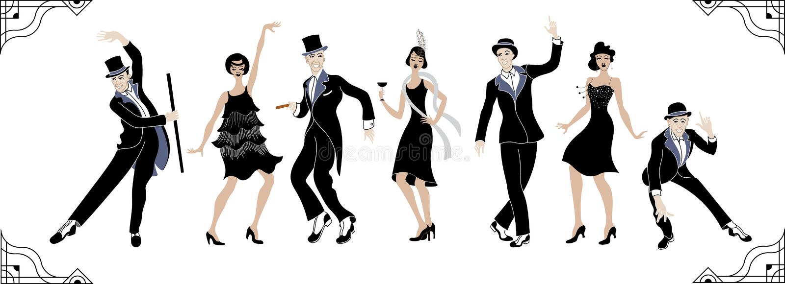 Charleston Party. Gatsby style set. Group of retro woman and man dancing charleston. Vintage style. retro silhouette dancer.1920 p. Arty vector background.Swing vector illustration