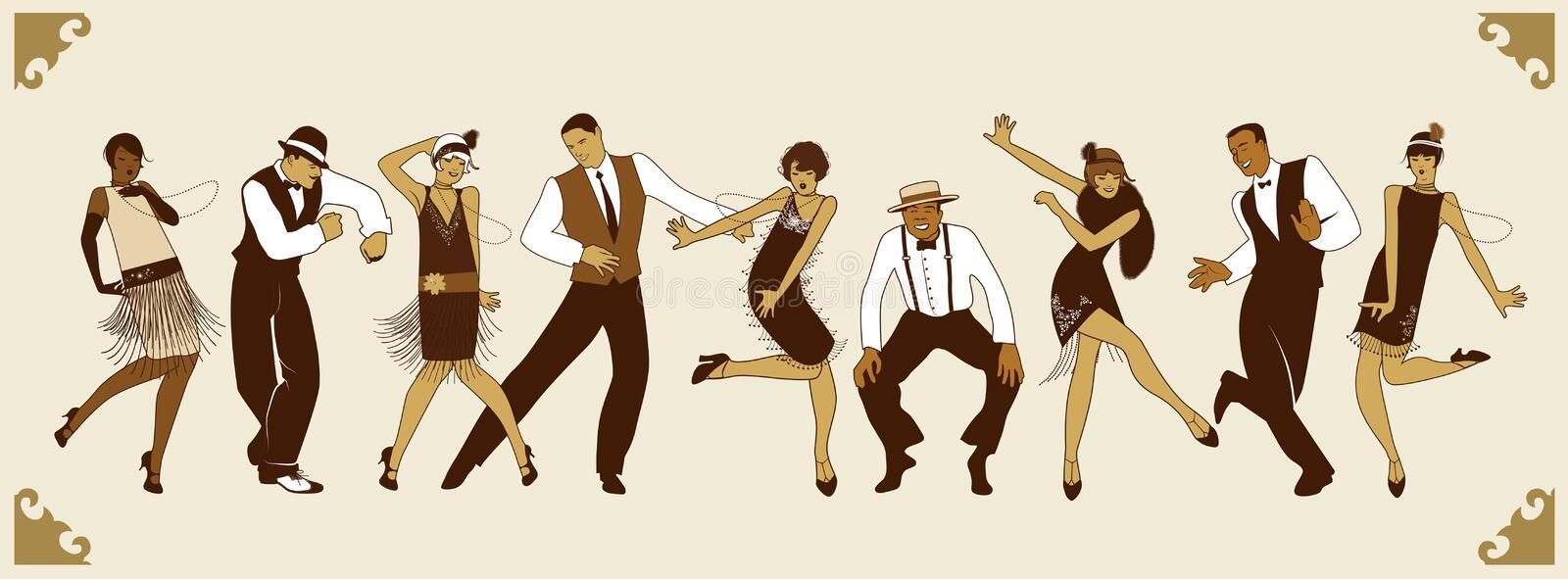 Charleston Party. Group of young people dancing charleston royalty free illustration