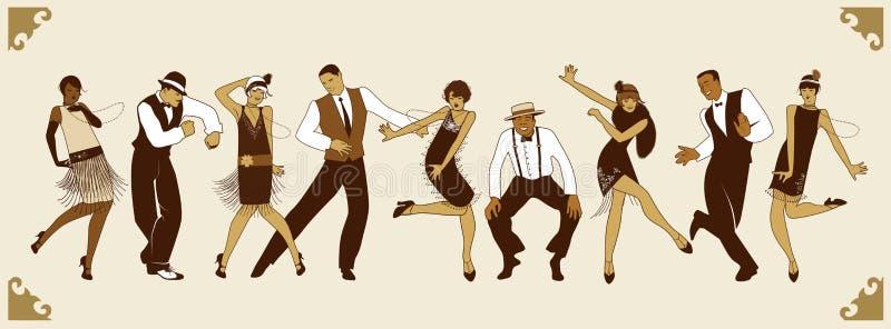 Charleston Party Grupp av ungdomarsom dansar charleston royaltyfri illustrationer