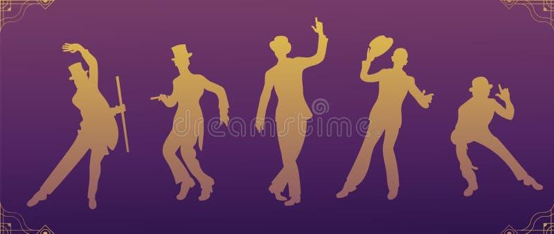 Charleston Party Guld- konturdansare Gatsby stiluppsättning Grupp av den retro mannen som dansar charleston tappning för stil för stock illustrationer