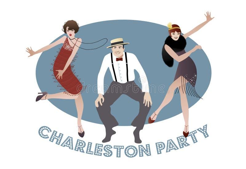 Charleston Party: Homem e meninas engraçadas que dançam Charleston ilustração royalty free