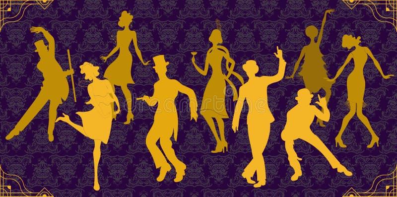 Charleston Party Sistema del estilo de Gatsby Silueta de oro de los bailarines Grupo de mujer retra y de hombre que bailan Charle stock de ilustración