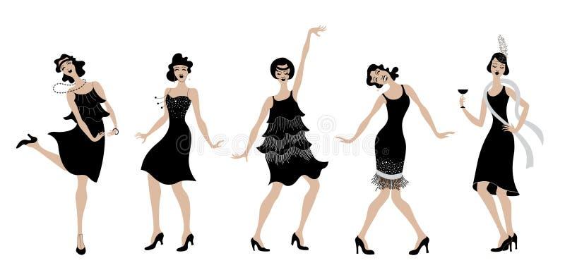 Charleston Party svart kontur för klänningdansflickor Gatsby stiluppsättning Grupp av den retro kvinnan som dansar charleston tap royaltyfri illustrationer