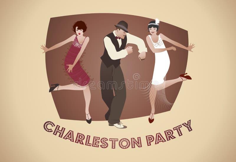 Charleston Party: Uomo e ragazze divertenti che ballano Charleston royalty illustrazione gratis