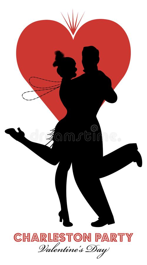 Charleston Party Valentine`s Day Dance. vector illustration