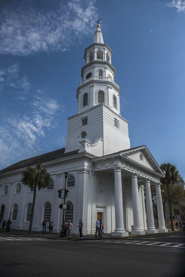 CHARLESTON, Południowa Karolina MARZEC 23 2018: Świętego Michael ` s kościół episkopalny, Charleston, Południowa Karolina fotografia stock