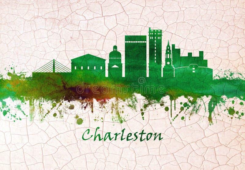 Charleston Po?udniowa Karolina linia horyzontu ilustracja wektor