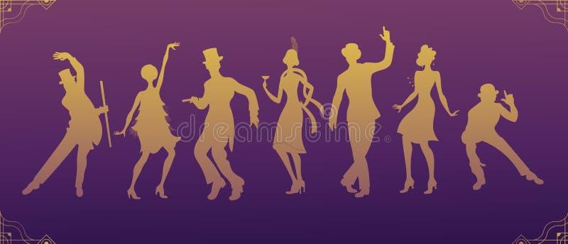 Charleston przyjęcie czarna kostiumu tana kobiety i mężczyzna złota sylwetka Gatsby stylu set Grupa tanczy Charleston retro mężcz ilustracji