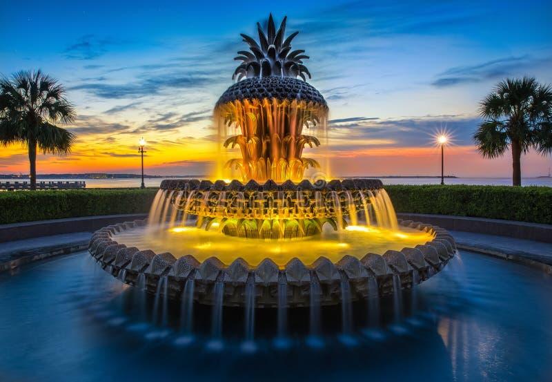Charleston, SC ananasa fontanna obraz stock
