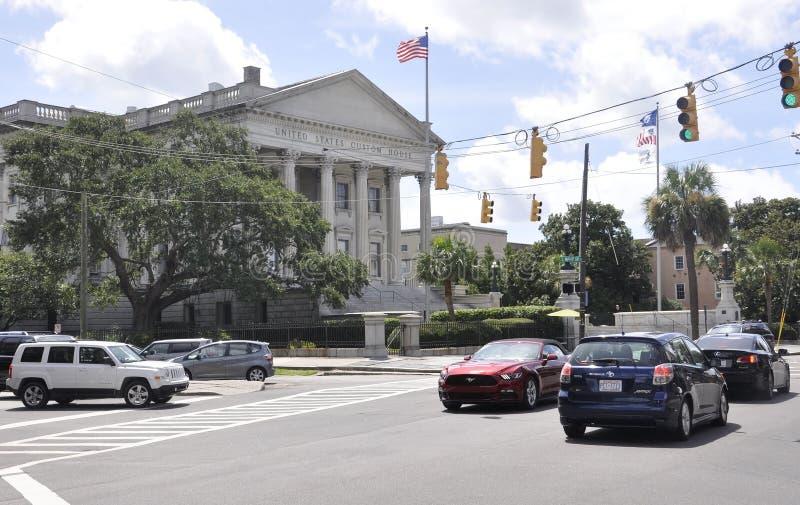 Charleston Sc, am 7. August: U S Zollamtstraße von Charleston in South Carolina lizenzfreie stockfotos