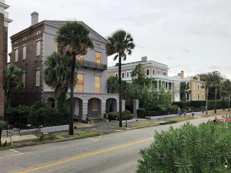 Charleston, SC prepares for Hurricane Dorian. Residents along the Battery in Charleston, South Carolina take precautions to protect their homes from Hurricane royalty free stock photo