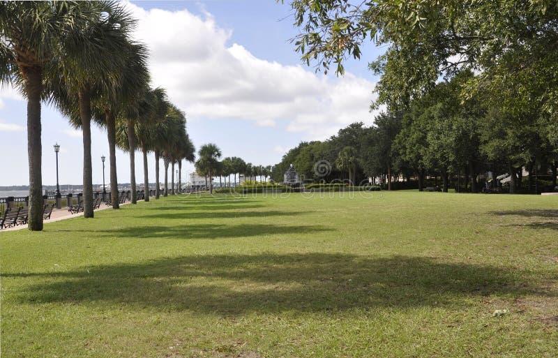 Charleston SC, Sierpień 7th: Nabrzeże park od Charleston w Południowa Karolina obraz stock