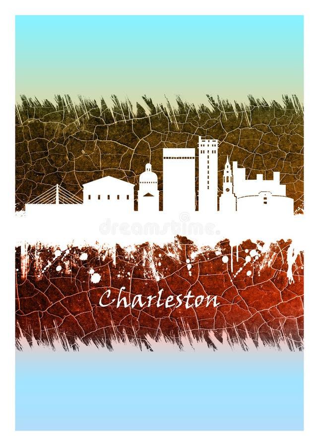 Charleston Skyline Blue und Wei? vektor abbildung
