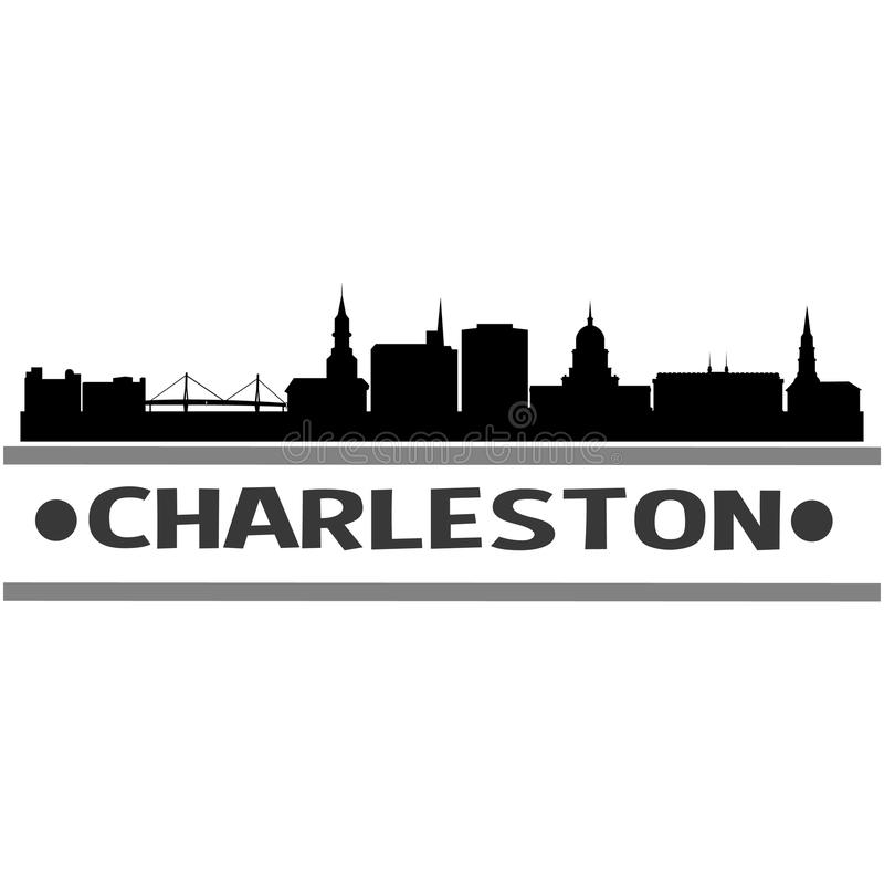 Charleston Skyline City Icon Vector Art Design. A skyline of Charleston with emblematic buildings royalty free illustration