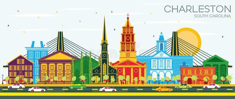 Charleston South Carolina City Skyline com construções da cor e o céu azul ilustração stock